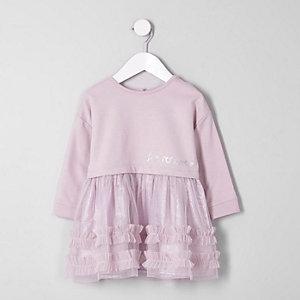 Sweatshirt-Kleid mit Rüschen