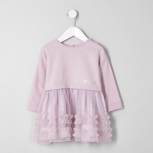 Mini girls ruffle skirt sweatshirt dress