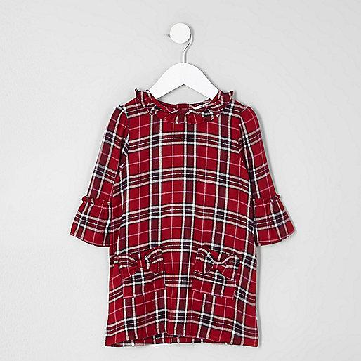 Mini girls red check bow pocket dress