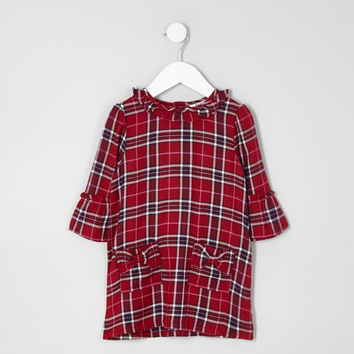 Mini girls red check bow pocket dress