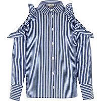 Girls blue stripe frill cold shoulder shirt