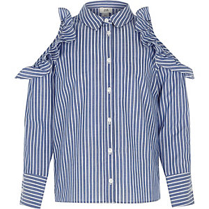 Girls blue stripe frill cold shoulder shirt