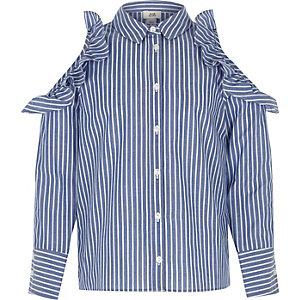 Blauw gestreept schouderloos overhemd met ruches voor meisjes