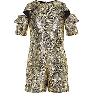 Girls gold metallic cold shoulder romper
