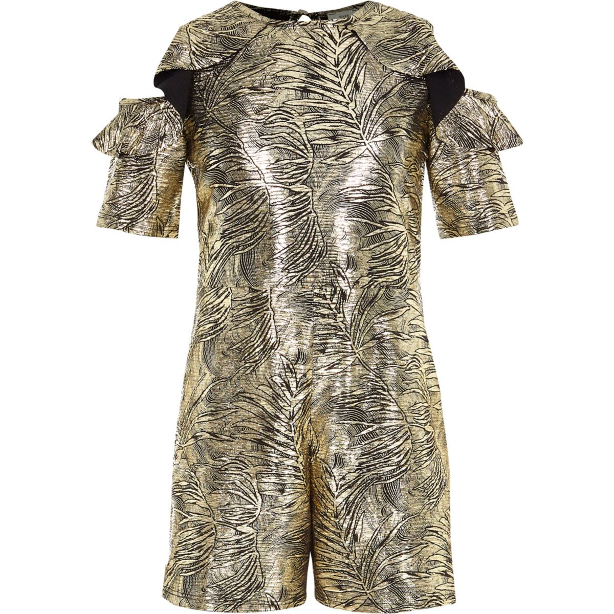 Girls gold metallic cold shoulder playsuit