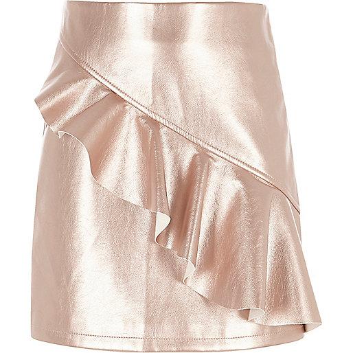 Girls rose gold metallic frill A line skirt