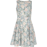 Girls blue floral geo print prom dress