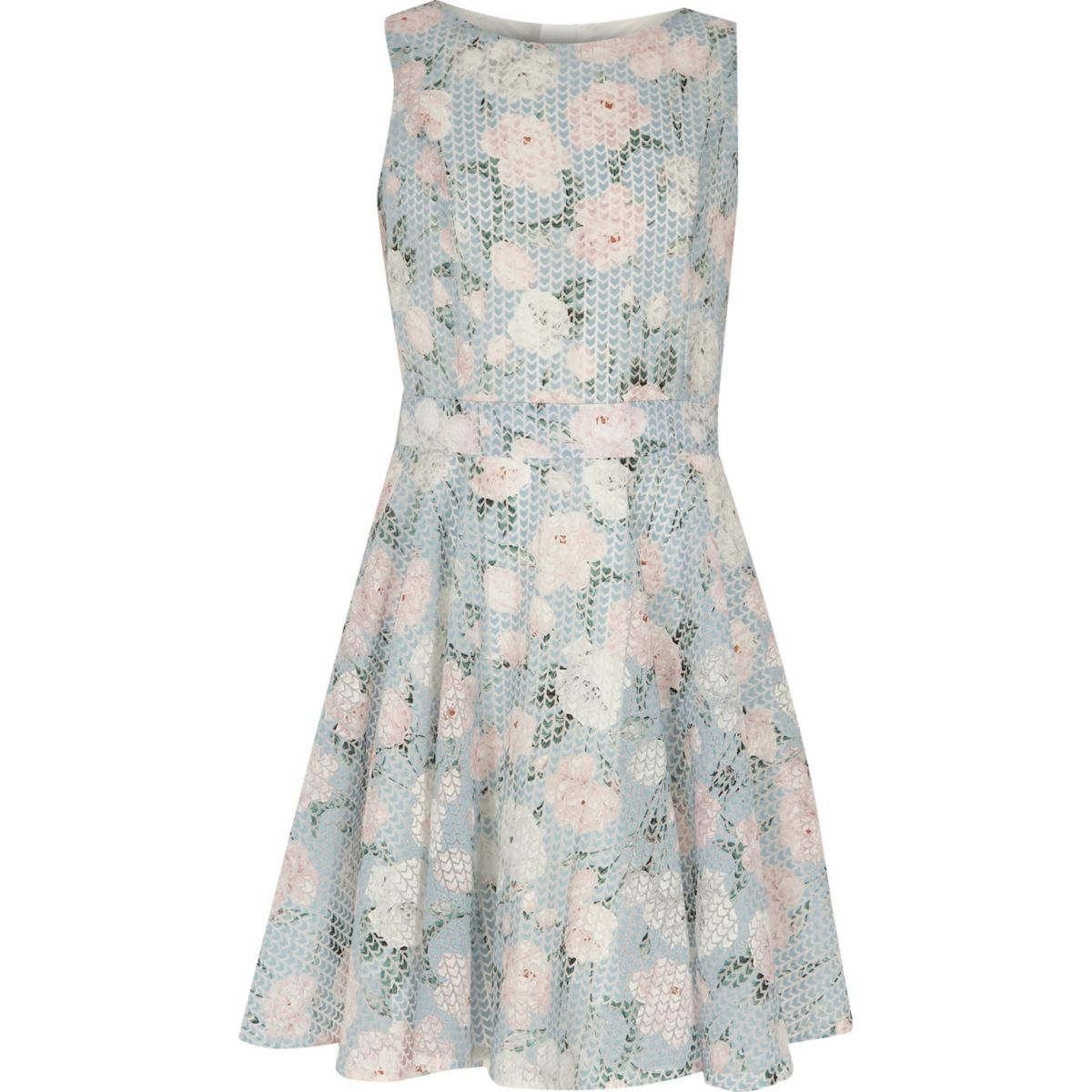 Girls blue floral geo print prom dress