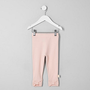 Mini girls pink bow ankle leggings