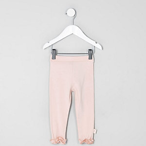 Mini girls light pink ruffle hem leggings