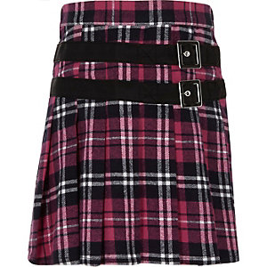 Girls pink plaid buckle pleated kilt skirt