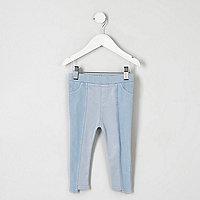 Mini - Blauwe legging in denimlook met gelaagde zoom