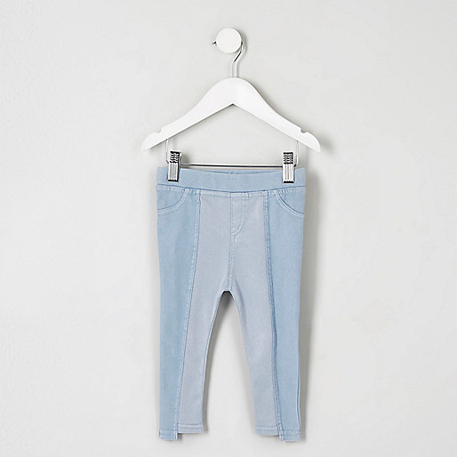 Mini girls blue step hem denim look leggings