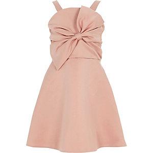 Robe de gala rose avec nœud sur le devant pour fille