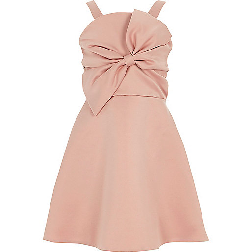 Girls pink bow front prom dress