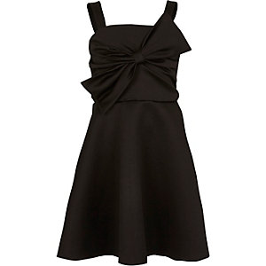 Girls black bow front prom dress