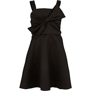 Girls black bow front prom dress