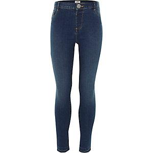 Molly - Blauwe skinny jeans met hoge taille voor meisjes