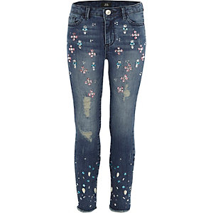 Amelie – Blaue, verzierte Skinny Jeans