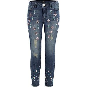 Girls blue embellished Amelie skinny jeans