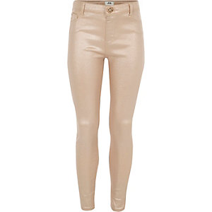 Girls pink Molly glitter skinny jeans