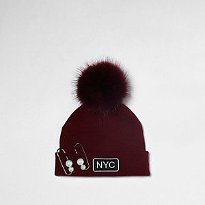 Girls red pearl pin bobble beanie hat