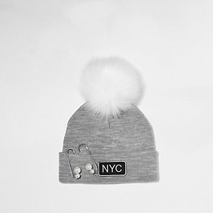 Girls grey pearl pin pom pom beanie hat