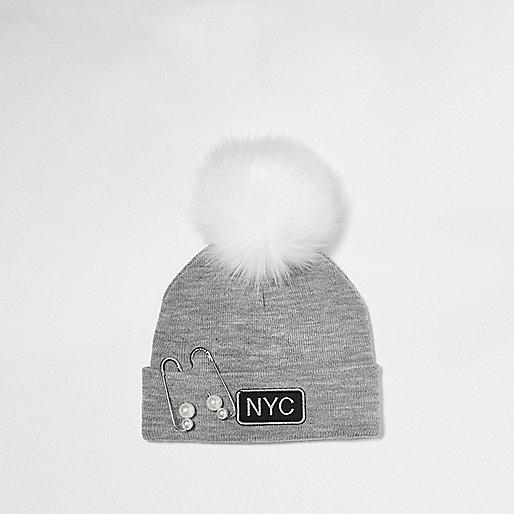 Girls grey pearl pin pom pom beanie hat