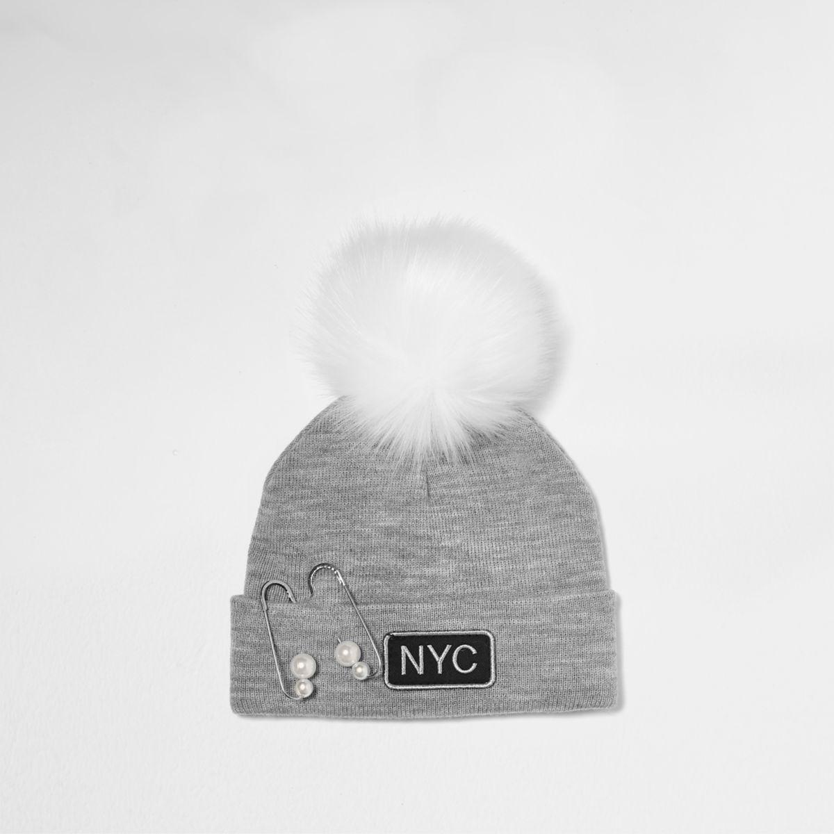Girls grey pearl pin bobble beanie hat