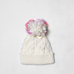 Girls cream iridescent knit beanie hat