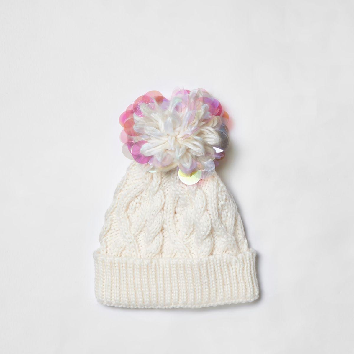 Girls cream iridescent knit beanie hat