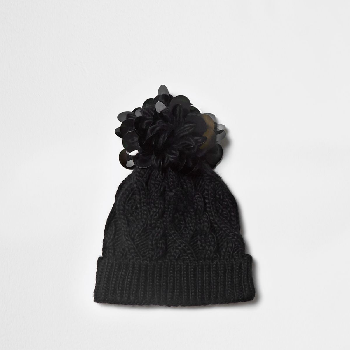 Girls black disk sequin knit beanie hat