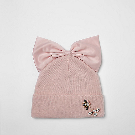 Girls pink bug embellished bow top beanie hat