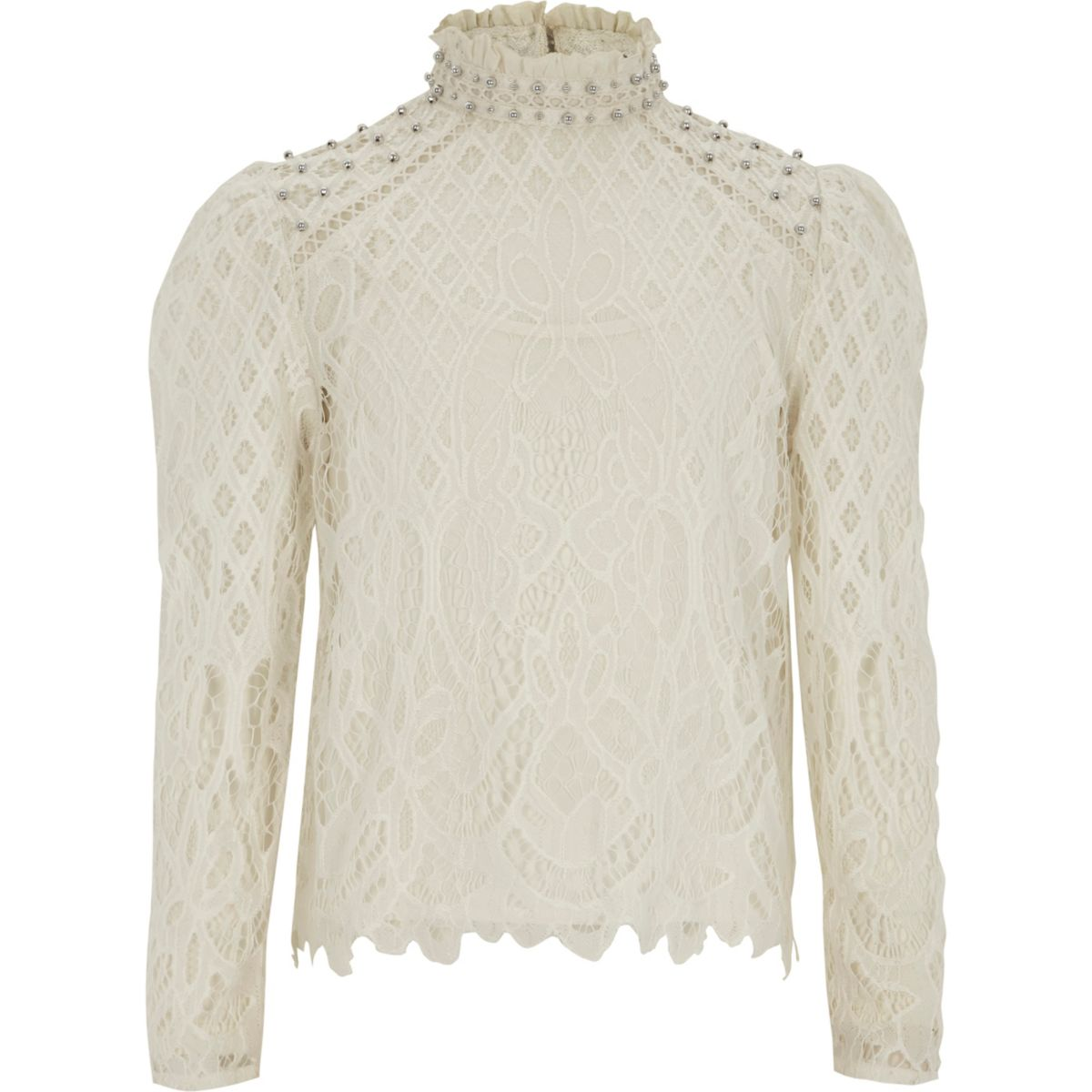 Girls cream lace high neck puff sleeve top