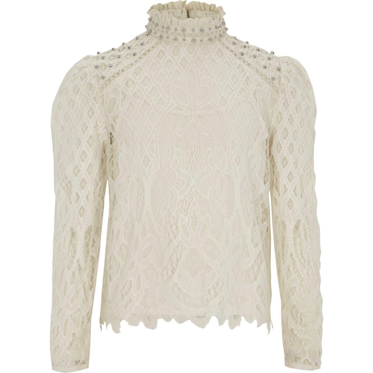 Girls cream lace high neck puff sleeve top