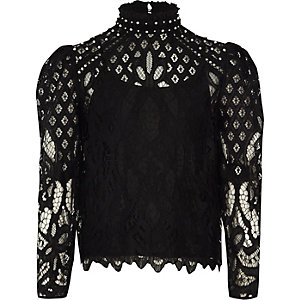Black lace high neck puff sleeve top