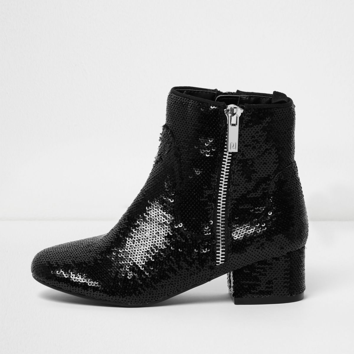 Girls black sequin embellished ankle boots