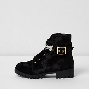 Girls black crushed velvet biker boots