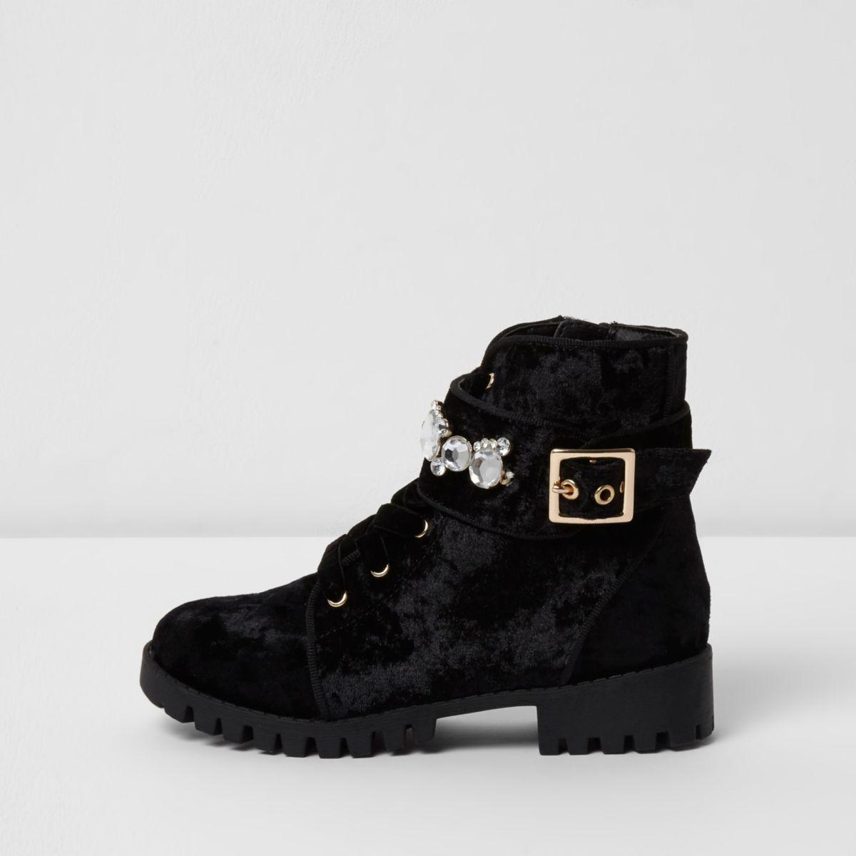 Girls black crushed velvet biker boots