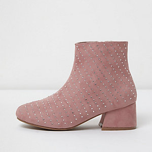 Girls pink studded block heel ankle boots