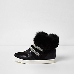 Girls black faux fur hi top trainers