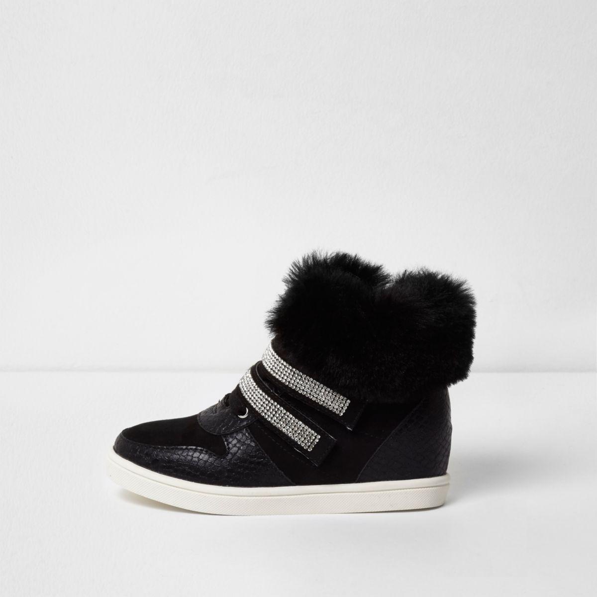 Girls black faux fur hi top sneakers