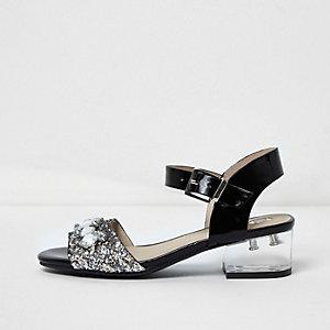 Girls black embellished clear heel sandals