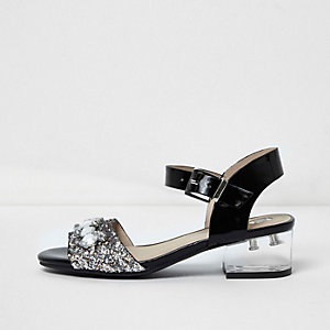 Girls black embellished clear heel sandals