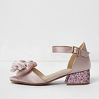 Girls pink satin bow block heel sandals