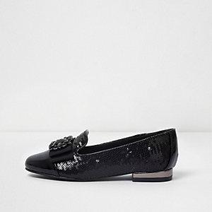 Zwarte lakleren schoenen met lovertjes en broche voor meisjes