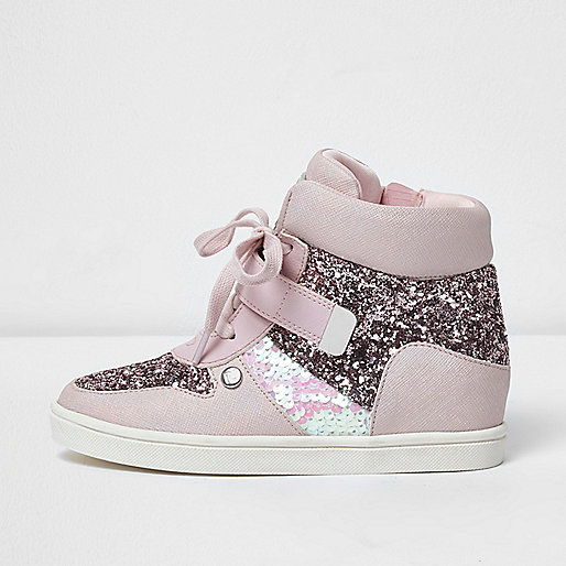 Girls pink glitter hi top lace-up trainers