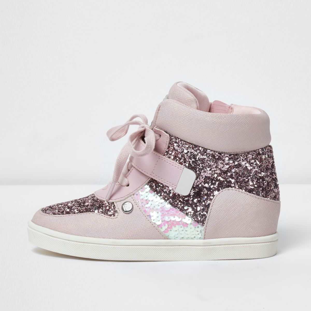 Girls pink glitter hi top lace-up sneakers