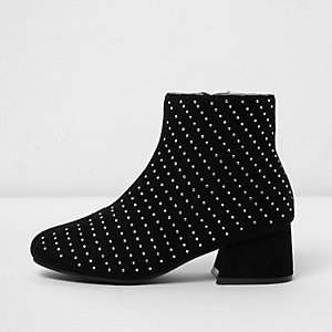 Girls black studded block heel ankle boots
