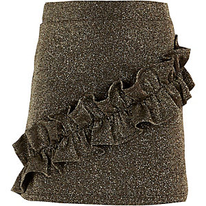 Schwarzer, glitzernder Minirock mit Rüschen